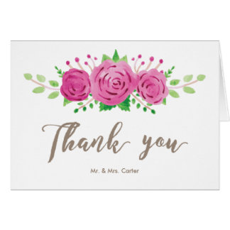 Classic Rosiness Thank You Note Card