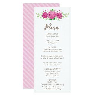 Classic Rosiness Wedding Menu Card