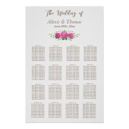 Classic Rosiness Wedding Seating Chart