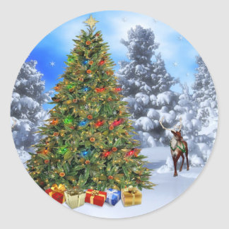 Classic Round Christmas Sticker/Christmas Tree Classic Round Sticker