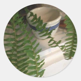 Classic Round Glossy Sticker 1 1/2'' w/ fern
