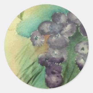 Classic Round Small Glossy Sticker w/flowers