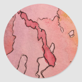 Classic Round Sticker Glossy small w/abstract