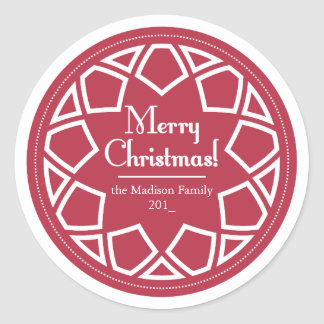 Classic Round Sticker-Red&White -Merry Christmas! Round Sticker