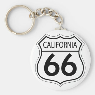 Classic Route 66 Basic Round Button Keychain