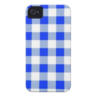 Classic Royal Blue Gingham Art Design Pattern iPhone 4 Case