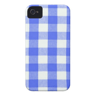 Classic Royal Blue Gingham Art Design Pattern iPhone 4 Cover