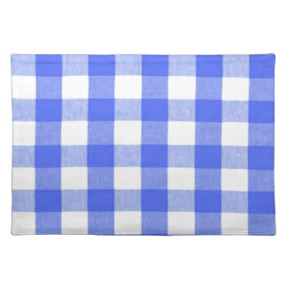 Classic Royal Blue Gingham Art Design Pattern Placemat
