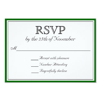 Classic RSVP with Dark Green Border Card