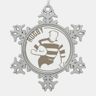 Classic Rugby Snowflake Pewter Christmas Ornament