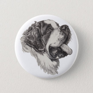 Classic Saint Bernard Dog Portrait Drawing 2 Inch Round Button