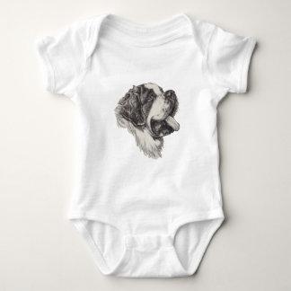 Classic Saint Bernard Dog Portrait Drawing Baby Bodysuit