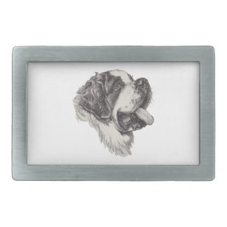 Classic Saint Bernard Dog Portrait Drawing Belt Buckles