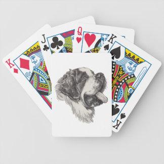 Classic Saint Bernard Dog Portrait Drawing Bicycle Playing Cards