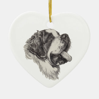 Classic Saint Bernard Dog Portrait Drawing Ceramic Heart Ornament