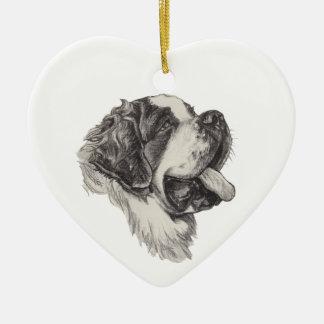 Classic Saint Bernard Dog Portrait Drawing Ceramic Ornament