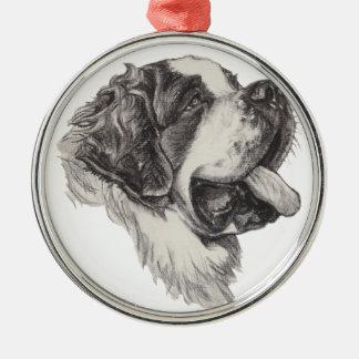 Classic Saint Bernard Dog Portrait Drawing Silver-Colored Round Ornament