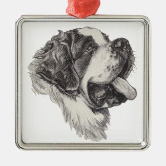 Classic Saint Bernard Dog Portrait Drawing Silver-Colored Square Ornament