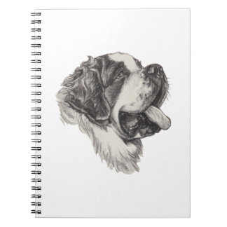 Classic Saint Bernard Dog Portrait Drawing Spiral Note Book