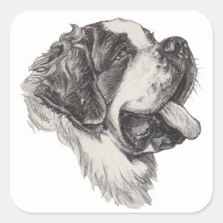 Classic Saint Bernard Dog Portrait Drawing Square Sticker