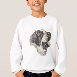 Classic Saint Bernard Dog Portrait Drawing Sweatshirt