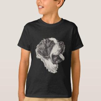 Classic Saint Bernard Dog Portrait Drawing T-Shirt