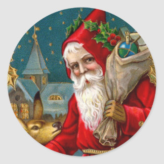 Classic Santa and Deer Christmas Classic Round Sticker