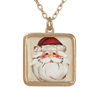 Classic Santa Claus Face Gold Plated Necklace