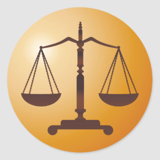 Classic Scales of Justice   Law Firm Round Sticker