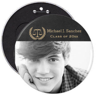 Classic Scales of Justice Law School Graduation 6 Inch Round Button