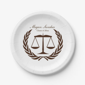 Classic Scales of Justice Law School Graduation Paper Plate