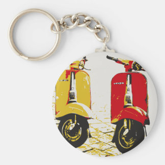Classic Scooter Basic Round Button Keychain