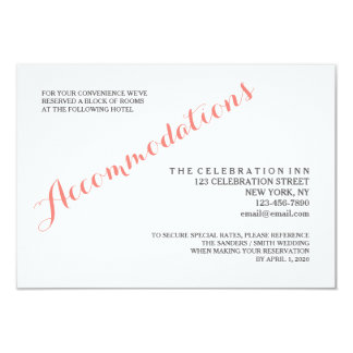 "Classic Script | Accommodation Enclosure Card 3.5"" X 5"" Invitation Card"
