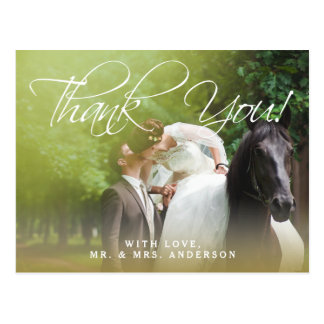 Classic Script | Photo Wedding Thank You Postcard