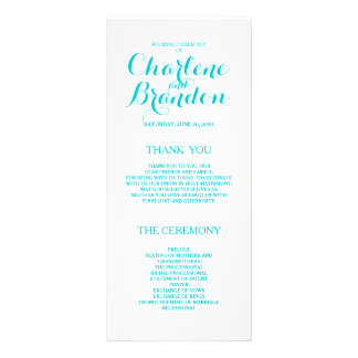 Classic Script | Turquoise Wedding Programs Rack Cards