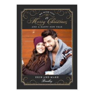 "Classic Scroll Christmas Card / Holiday Photo Card 5"" X 7"" Invitation Card"