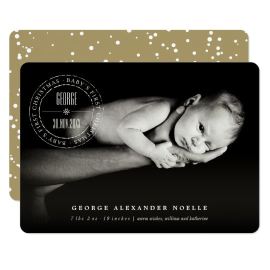 Classic Seal Baby First Christmas Chic Photo Card
