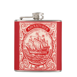 Classic Ship Antique Vintage Naval Sea Adventurer Hip Flask