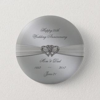 Classic Silver 25th Wedding Anniversary Button