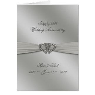 Classic Silver 25th Wedding Anniversary Card
