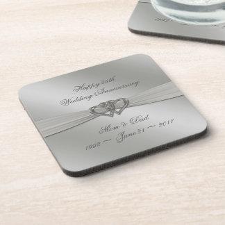 Classic Silver 25th Wedding Anniversary Coasters