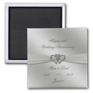Classic Silver 25th Wedding Anniversary Magnet