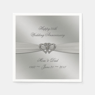 Classic Silver 25th Wedding Anniversary Napkins Disposable Napkins