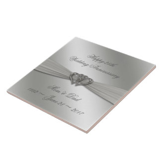 Classic Silver 25th Wedding Anniversary Tile