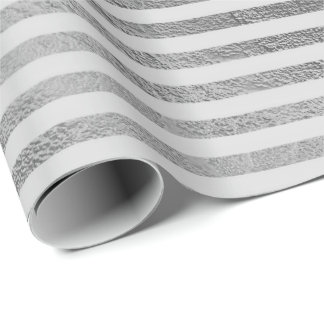 Classic Silver Gray Monochrome Lines Stripes Paris Wrapping Paper