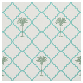Classic simple turquoise and white quatrefoil fabric