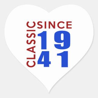 Classic Since 1941 Birthday Designs Heart Sticker