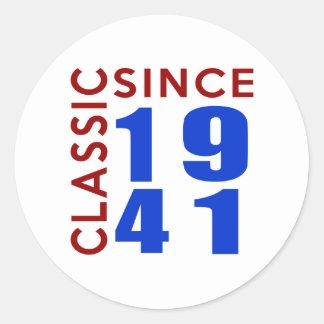 Classic Since 1941 Birthday Designs Round Sticker