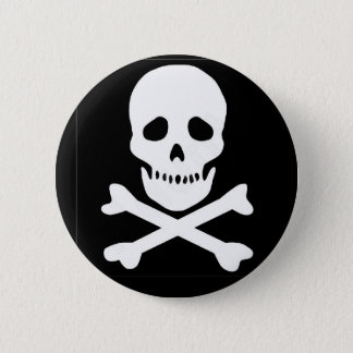 classic skull and crossbones 2 inch round button