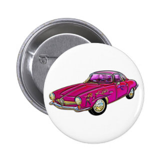 Classic Small Pink Sports Car 2 Inch Round Button